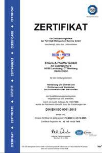 Zertifikat Ehlers und Pfeiffer GmbH